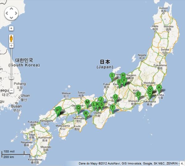 Japonia - przykładowa trasa podróży poJaponii