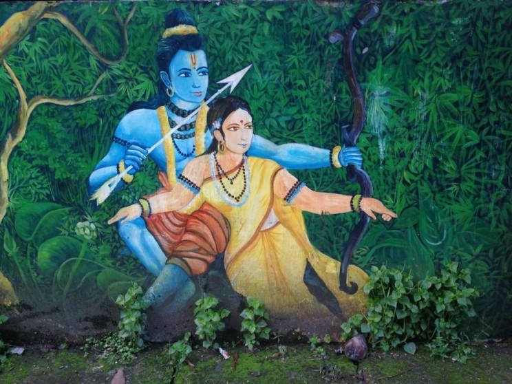Podróż przezIndie. Mural wKochi, Fort Chochin, Kerala