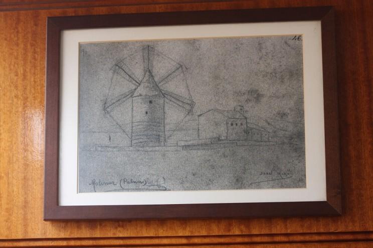 Szkic Joana Miró przedstawiający wiatraki naMajorce