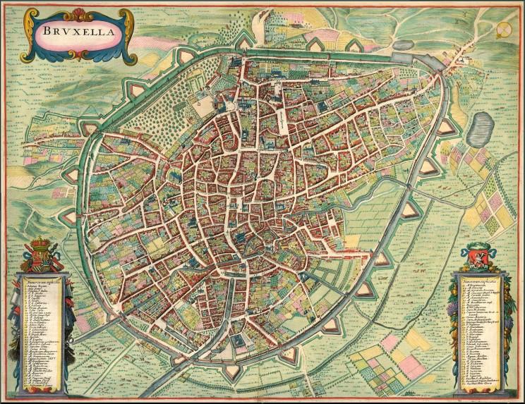Mapa Brukseli z1657 roku (ByJanssonius, Johannes, Sanderusmaps)