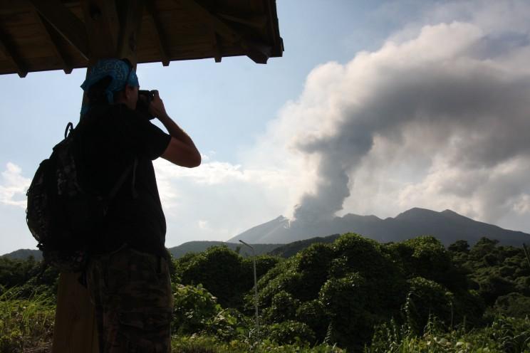 Aktywny wulkan Sakurajima, prefektura Kagoshima, Japonia (wrzesień 2012)