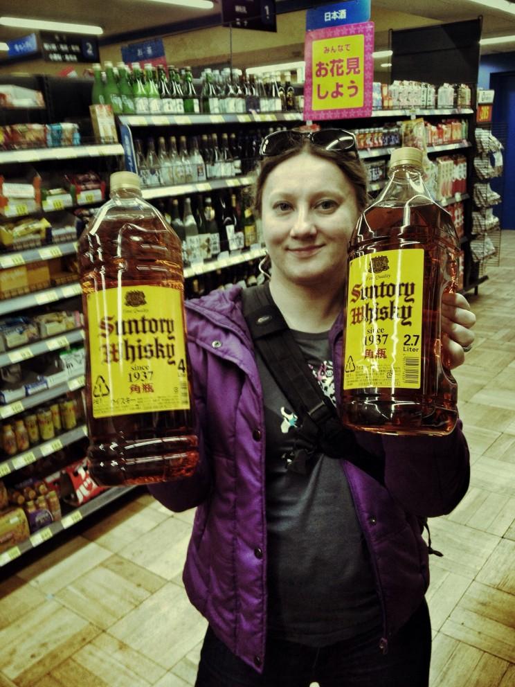Big Suntory whiskey, sake nakute nan no onore ga sakura kana