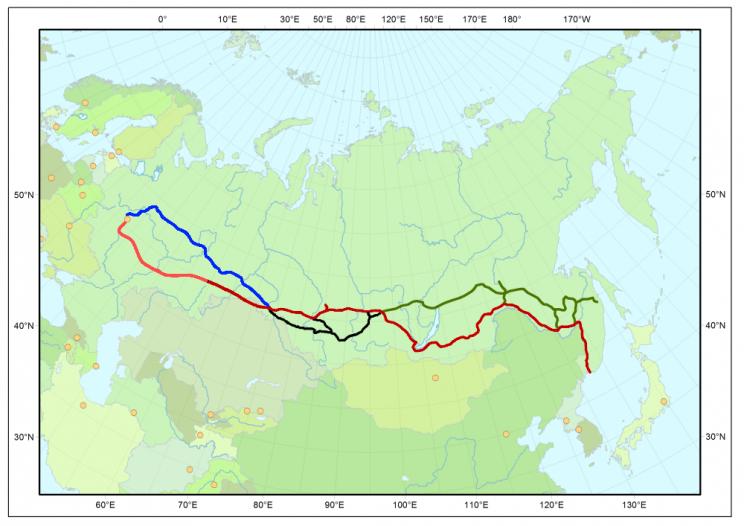 Podróż Koleją Transsyberyjską: co warto wiedzieć oTranssibie - Mapa Kolei Transsyberyjskiej