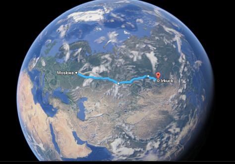 Taki kawałek globu przejechaliśmy zMoskwy doIrkucka :)