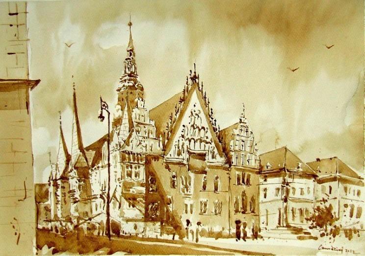 Mariusz Gosławski, Ratusz wrocławski - praca plenerowa - malowane kawą