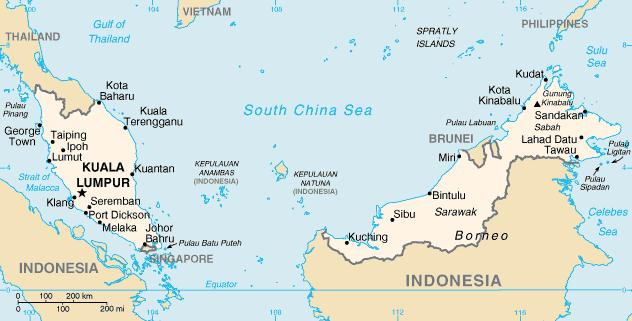 Kuala Lumpur iMalezja - informacje praktyczne - mapa Malezji