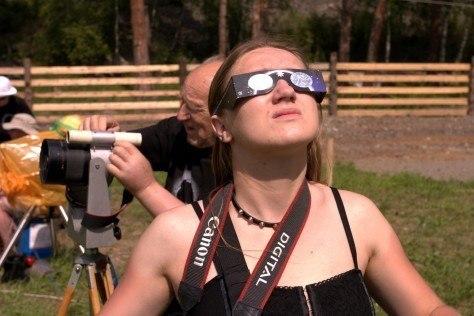 Pełne zaćmienie słońca 2008, Czemal, Ałtaj, Syberia, Rosja