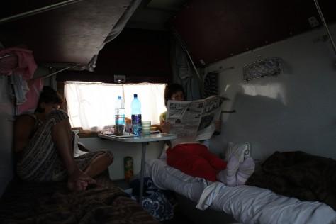 W pociągu doNowosybirska, Ałtaj, Syberia, Rosja (Transsibem nadBajkał)
