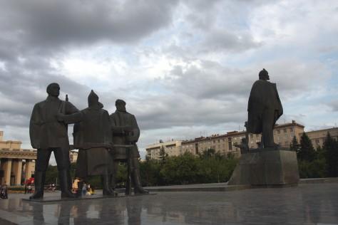Площадь Ленина в Новосибирске - Plac Lenina wNowosybirsku (Podróż Koleją Transsyberyjską,Transsibem nadBajkał)