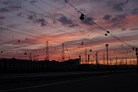 Zachód słońca nadNowosybirskiem, Nowosybirsk, Syberia, Rosja (Podróż Koleją Transsyberyjską,Transsibem nadBajkał)