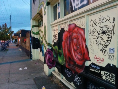Rose graffiti, Portland, Oregon