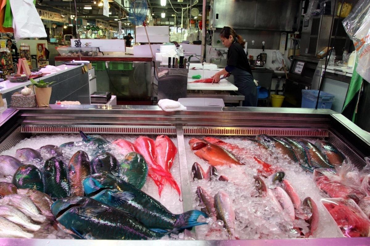 Tęczowe subtropikalne ryby zOkinawy - Tomari Lyumachi Fish Market Okinawa