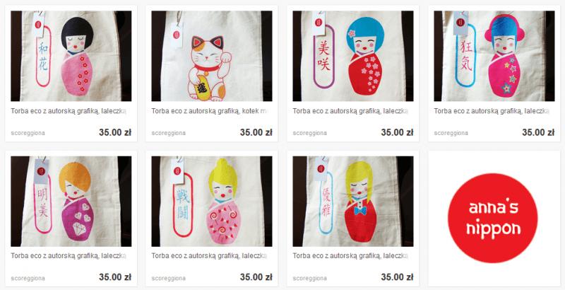 "Konkurs ""Kokeshi"" - nagrody - wzory toreb Anna's Nippon"