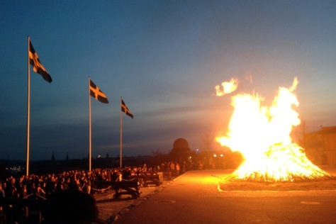 Noc Walpurgii / Valborg 2016 bonfire in Skansen Stockholm, Sweden
