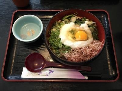 Japońskie makarony: tsukimi soba (zwbitym surowym jajkiem) iwodą soba-yu