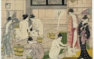 Jak zachowywać się w onsenie (onsen - japońskie gorące źródła) - drzeworyt Torii Kiyonaga: Onna yu