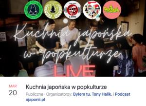 Kuchnia japońska wpopkulturze (zaproszenie naspotkanie LIVE)