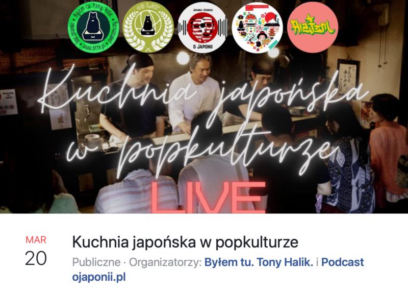 Kuchnia japońska wpopkulturze (zaproszenie naspotkanie LIVE oJaponii)