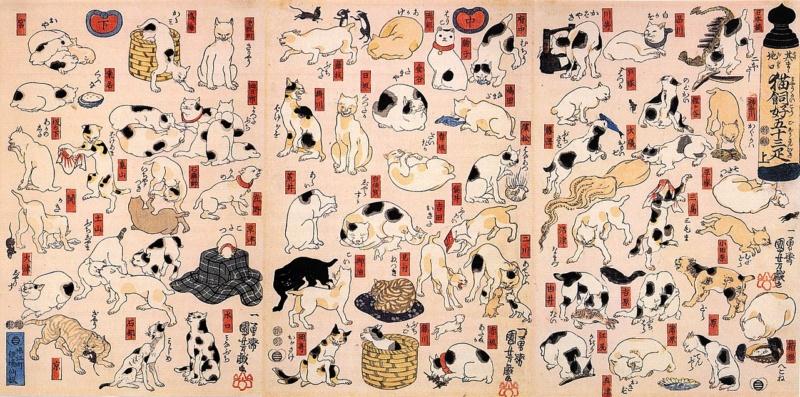 Utagawa Kuniyoshi: Koty symbolizujące 53 stacje linii Tōkaidō