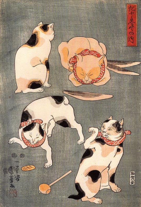 Koty wukiyo-e. Drzeworyty japońskie zkotami. Utagawa Kuniyoshi: Kocie pozy