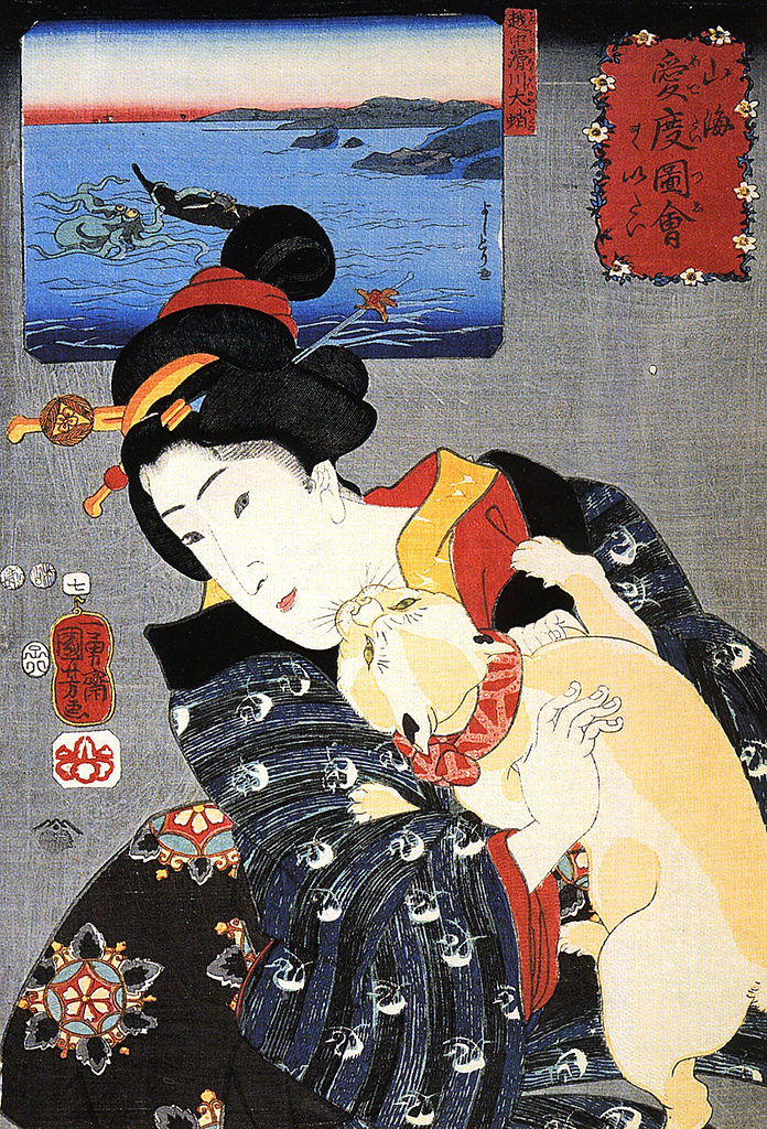 Utagawa Kuniyoshi: Kobieta i kot