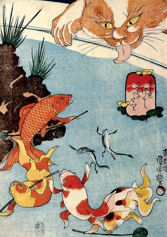 Utagawa Kuniyoshi: Kot istaw zkarpiami (koi)