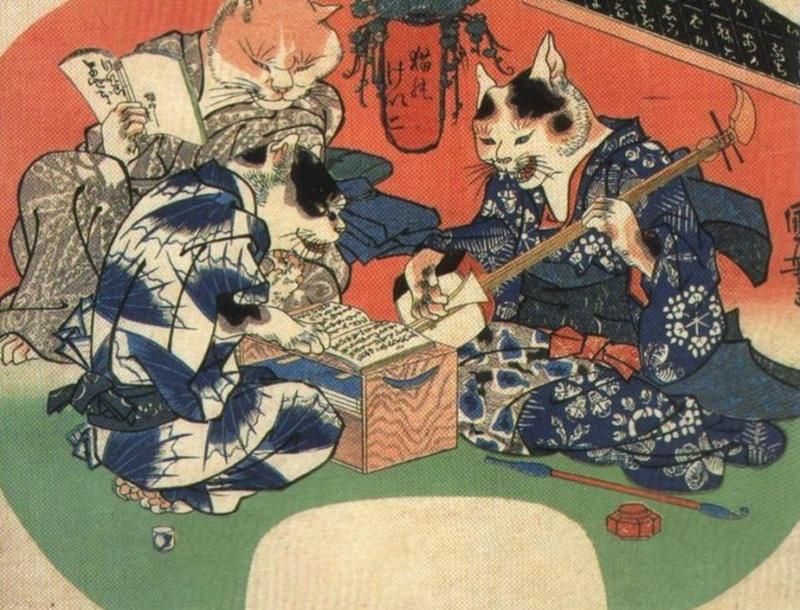 Koty wukiyo-e. Drzeworyty japońskie zkotami (Kuniyoshi Utagawa)