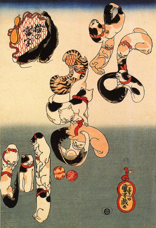 Koty wukiyo-e. Drzeworyty japońskie zkotami. Utagawa Kuniyoshi: Koty formujące znaki słowa namazu (なまず)