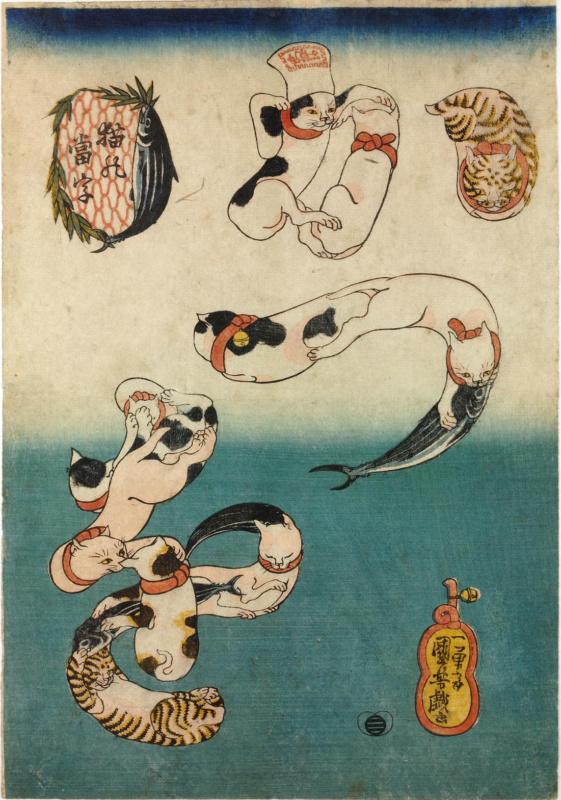 Koty wukiyo-e. Drzeworyty japońskie zkotami. Utagawa Kuniyoshi: Koty tworzące słowo katsuo