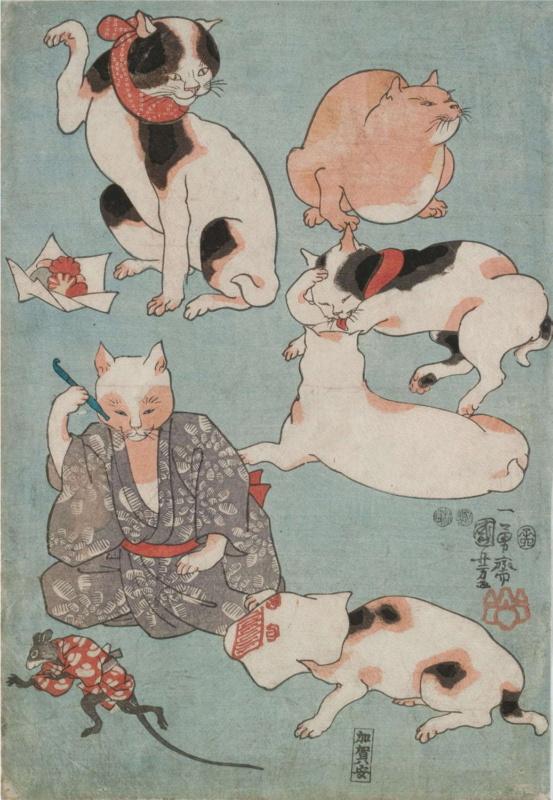 Koty wukiyo-e. Drzeworyty japońskie zkotami. Utagawa Kuniyoshi: Sześć kotów imysz